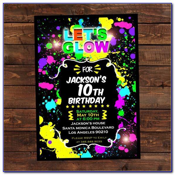 Neon Party Invitation Templates Free