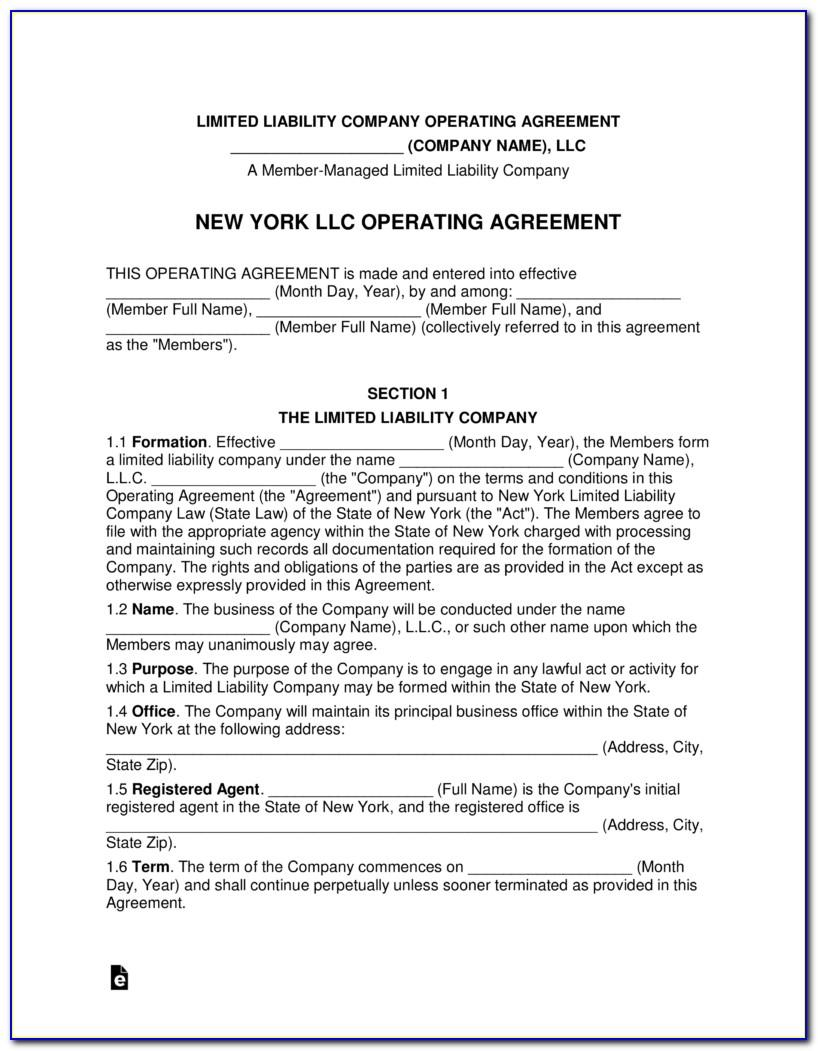 New York Llc Operating Agreement Template