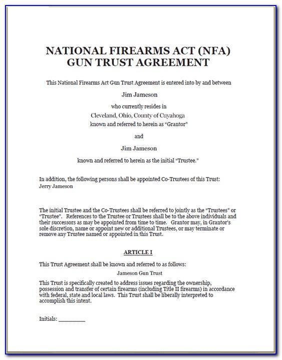 Nfa Firearms Trust Template