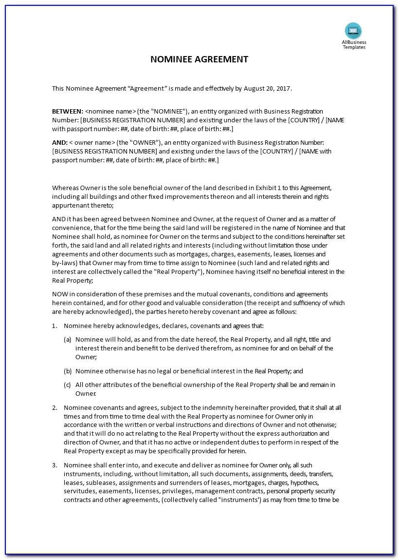 Nominee Agreement Template