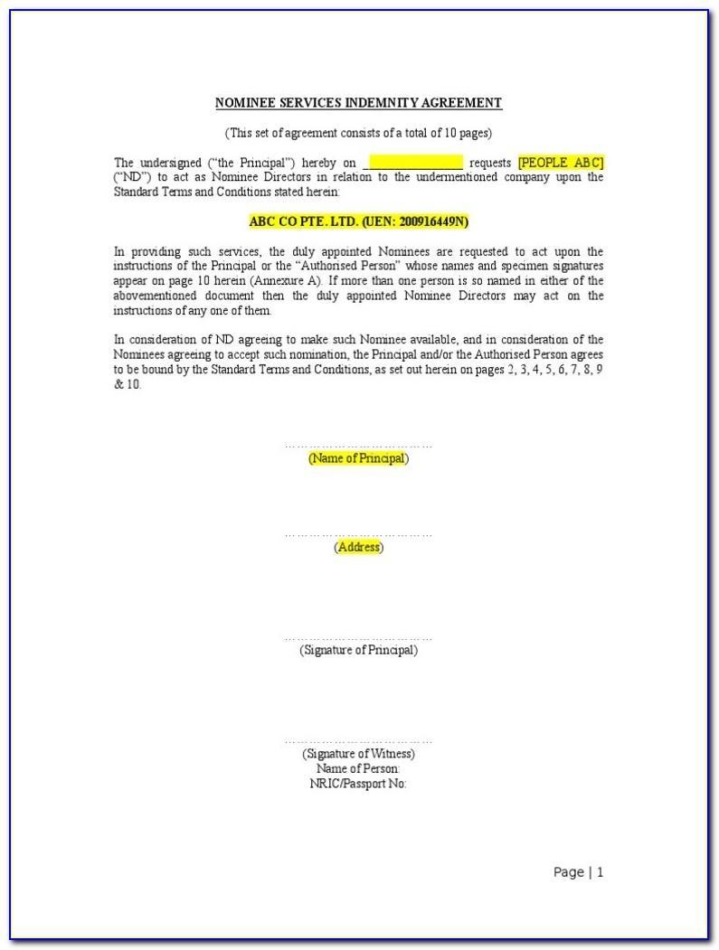Nominee Director Agreement Template