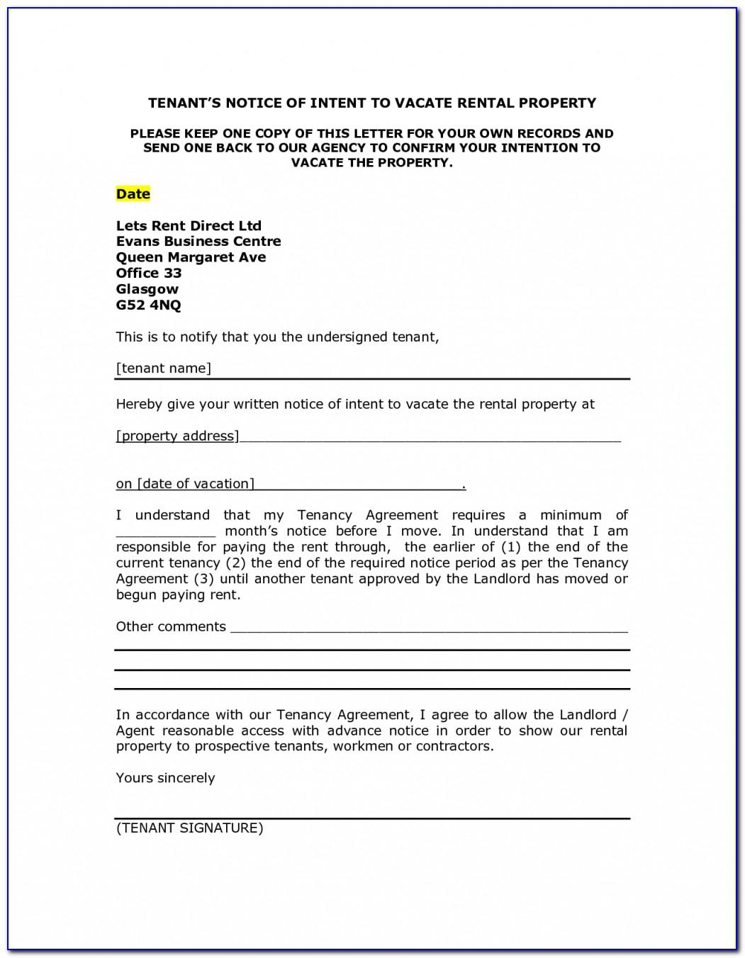 Notice To Vacate Letter To Tenant Template