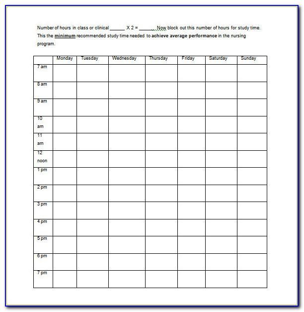 Nurse 12 Hour Schedule Template