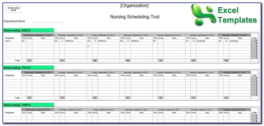 Nurse Staffing Schedule Template