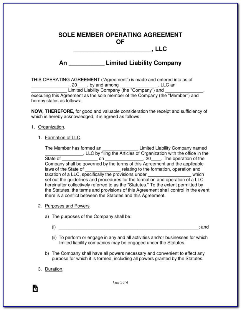 Operating Agreement For Single Member Llc Template