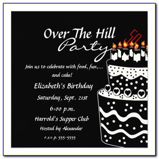 Over The Hill Birthday Invitation Templates