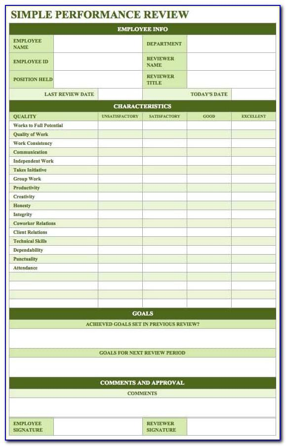 Performance Evaluations Templates Free