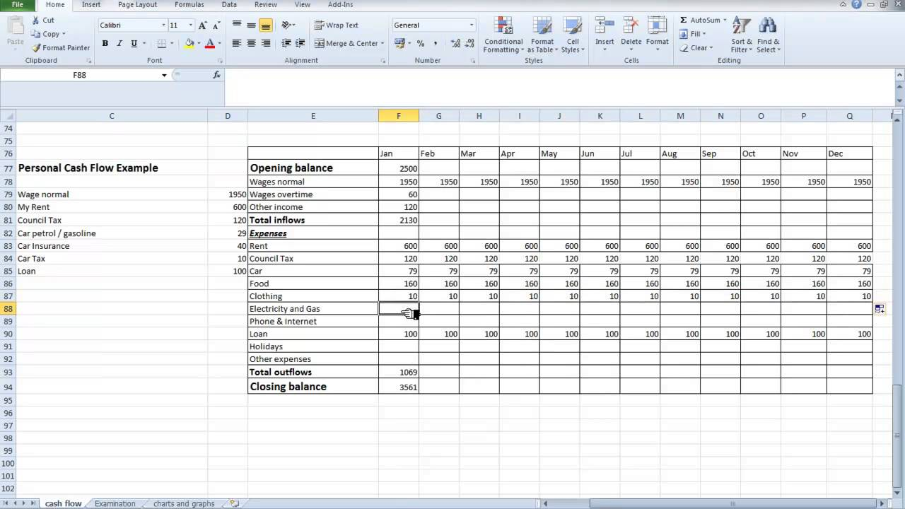 Personal Cash Flow Spreadsheet Template Free