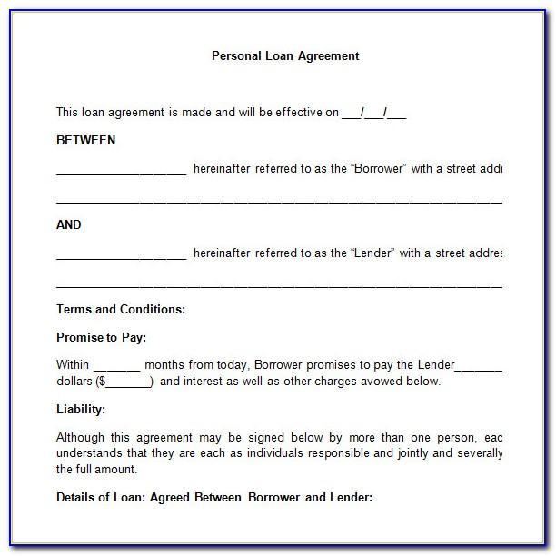 Personal Loan Agreement Format Pdf