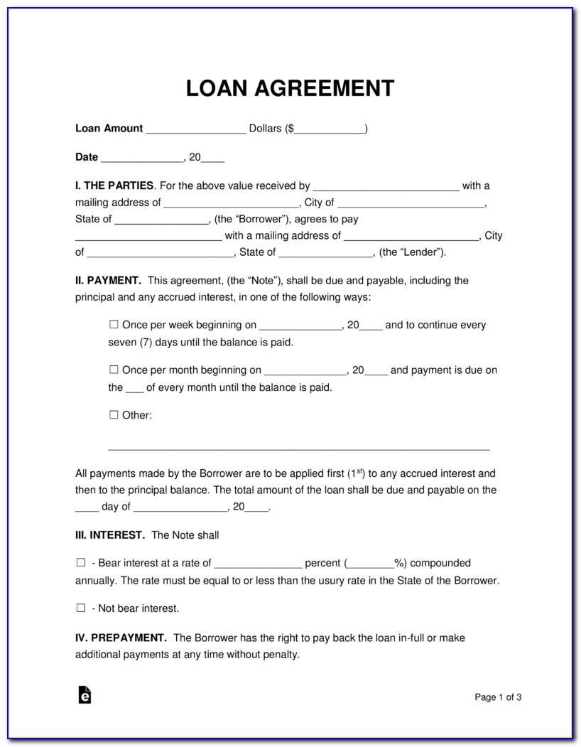 Personal Loan Agreement Sample Pdf