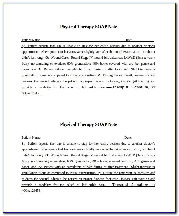 Physical Therapy Soap Note Format
