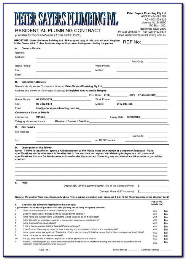 Plumbing Contract Form