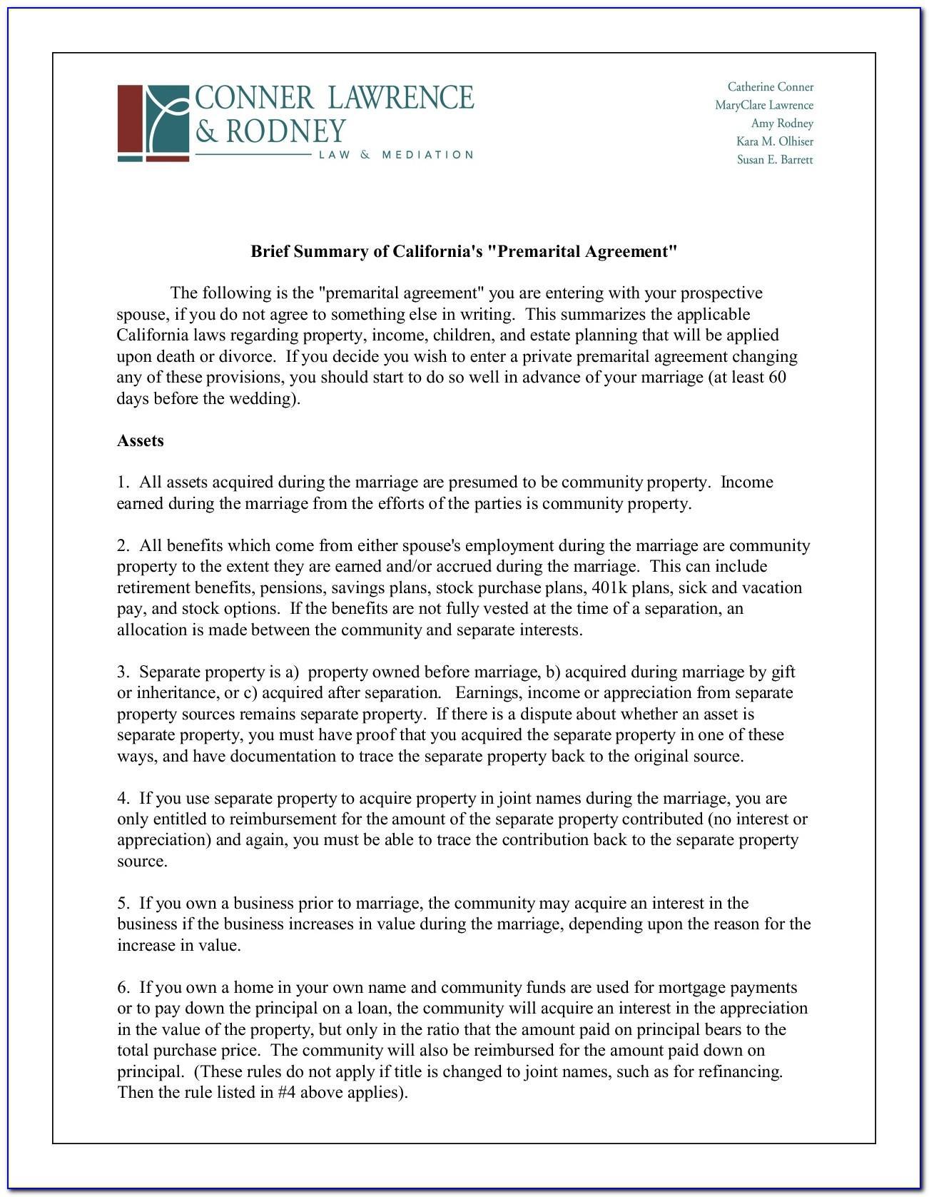 Post Nuptial Agreement Template California