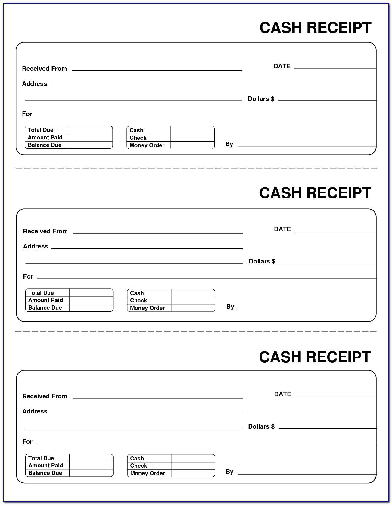 Printable Cash Receipt Forms