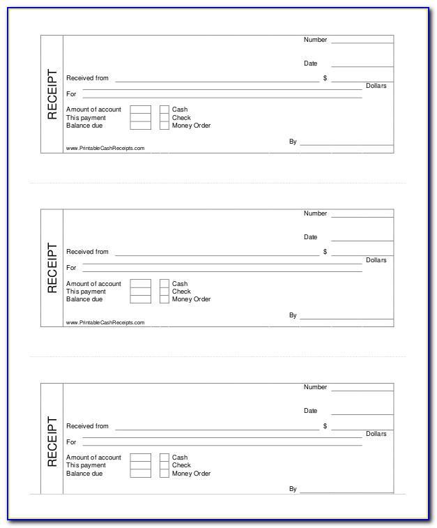 Printable Cash Receipt Template Uk