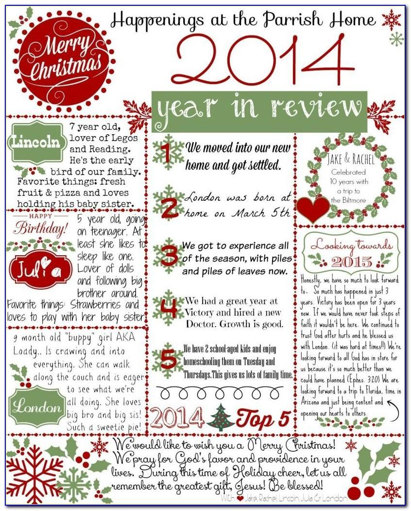 Printable Christmas Newsletter Template Free