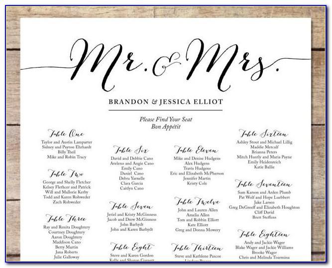 Printable Free Wedding Seating Chart Template Microsoft Word