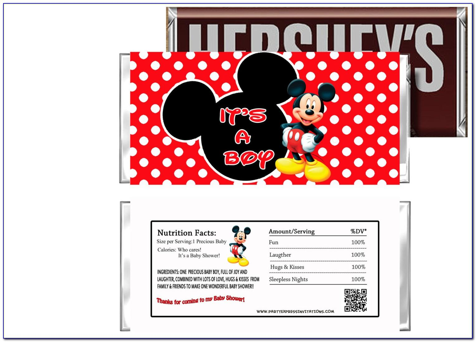 Printable Mickey Mouse Candy Bar Wrappers