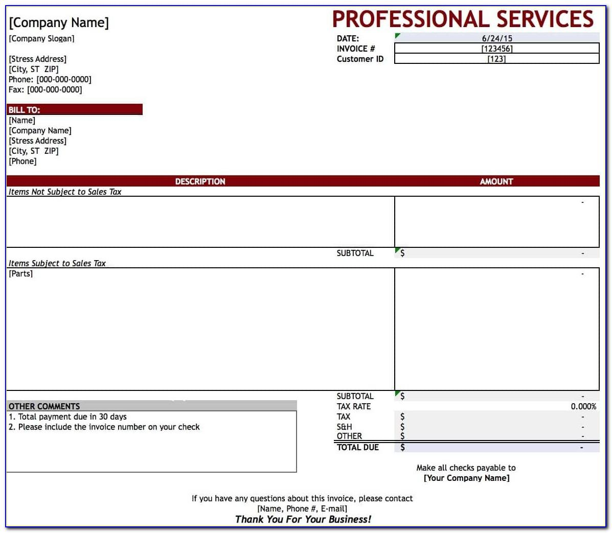 Professional Service Invoice Template Excel