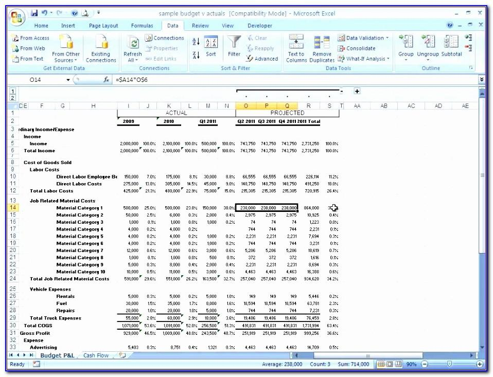 Projected Financial Statements Excel Template