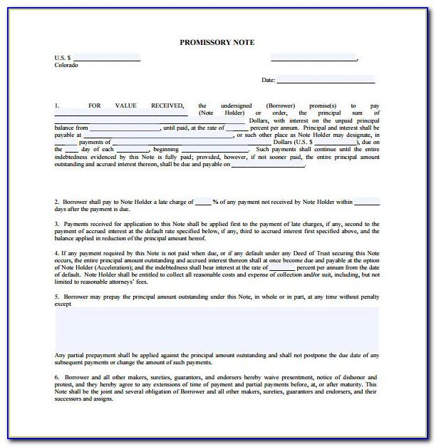 Promissory Note Format Doc