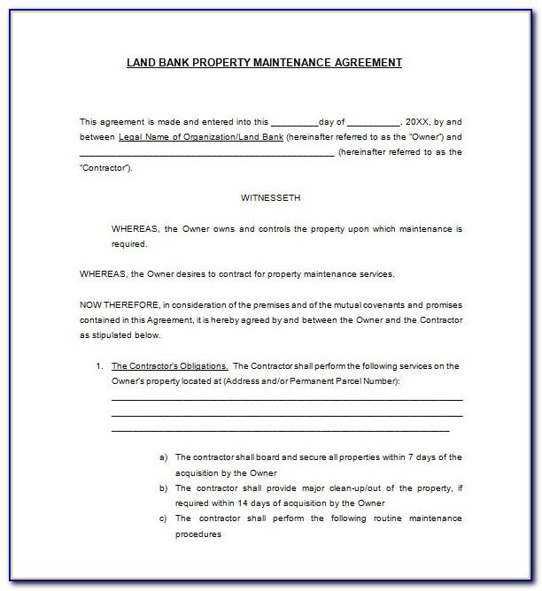 Property Maintenance Contract Template Free