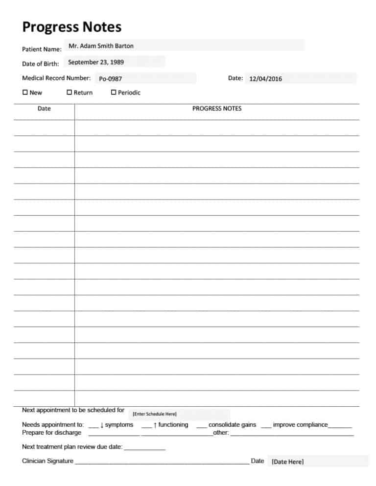 Psychologist Progress Note Template