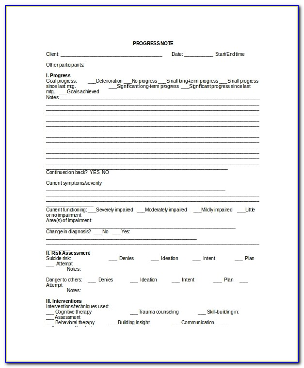 Psychotherapy Note Template