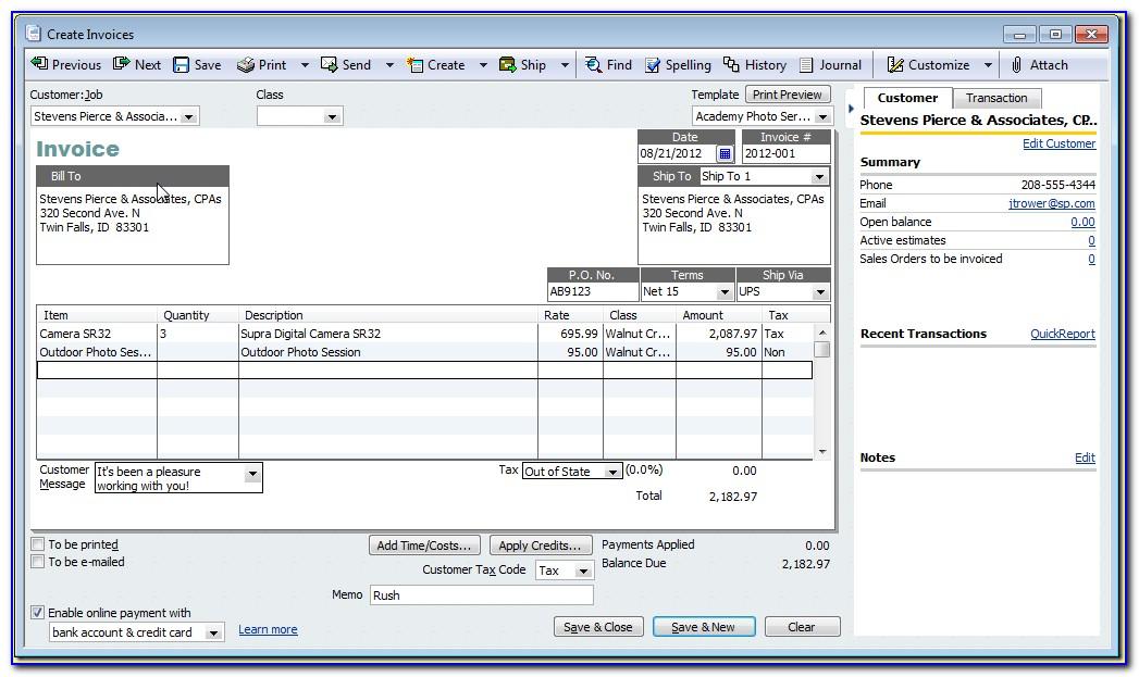 Quickbooks Invoice Templates Excel