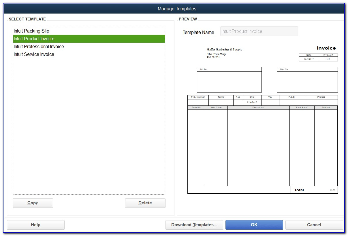 Quickbooks Invoice Templates Word