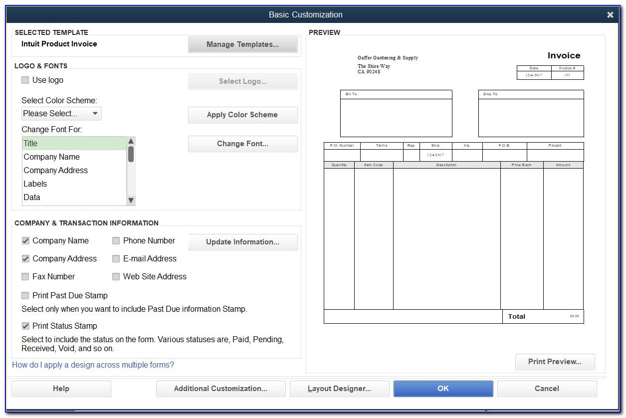 Quickbooks Modify Invoice Template