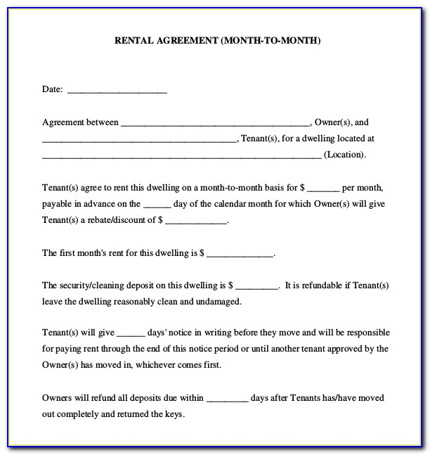 Rent Agreement Template Pdf