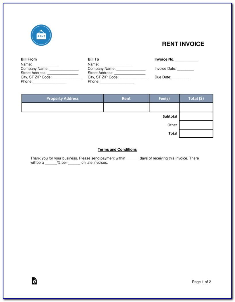 Rent Invoice Template Pdf