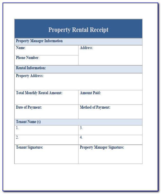 Rent Receipt Sample Pdf