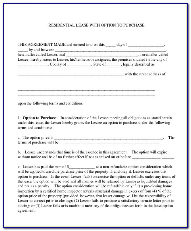 Rent To Own House Contract Example
