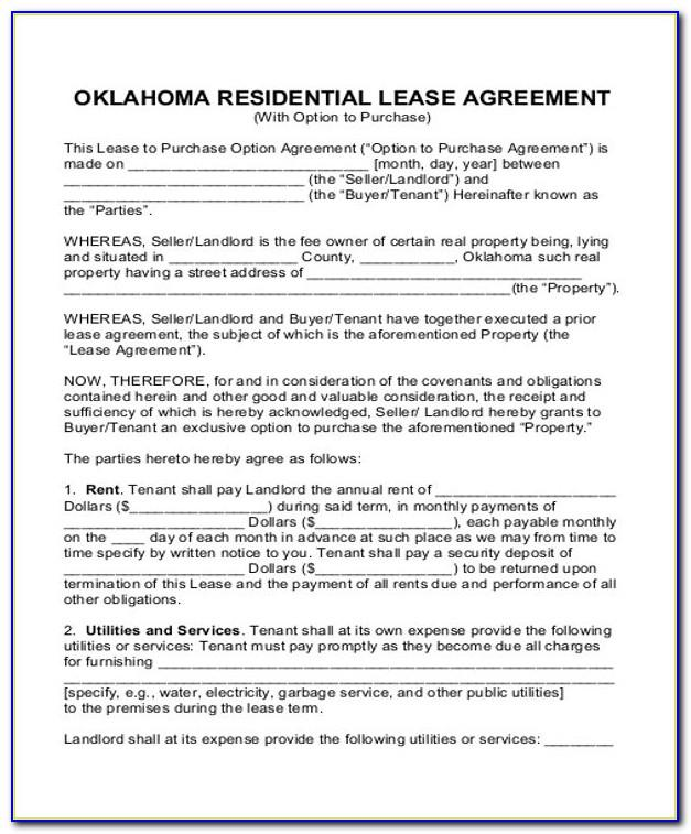 Rent To Own House Contract Sample