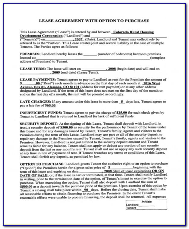 Rent To Own Property Agreement Template