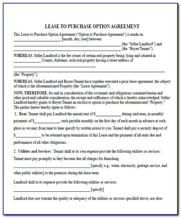 Rent To Own Property Contract Sample