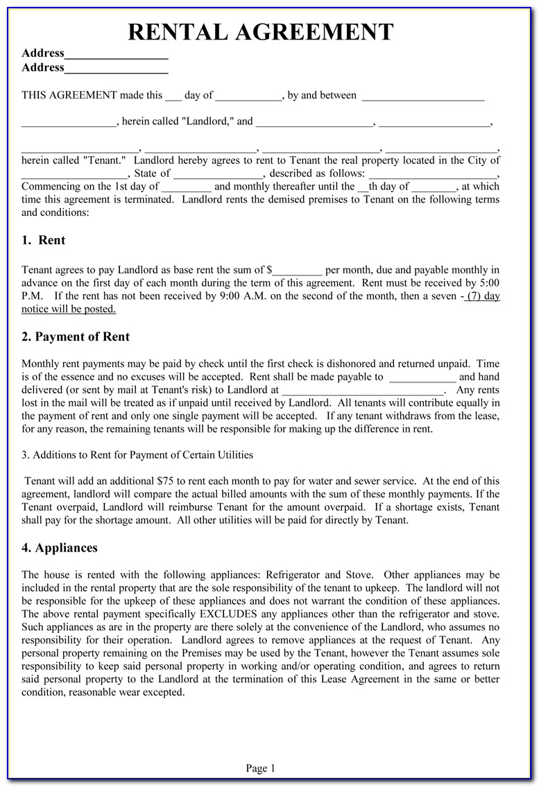 Rental Agreement Contract Doc