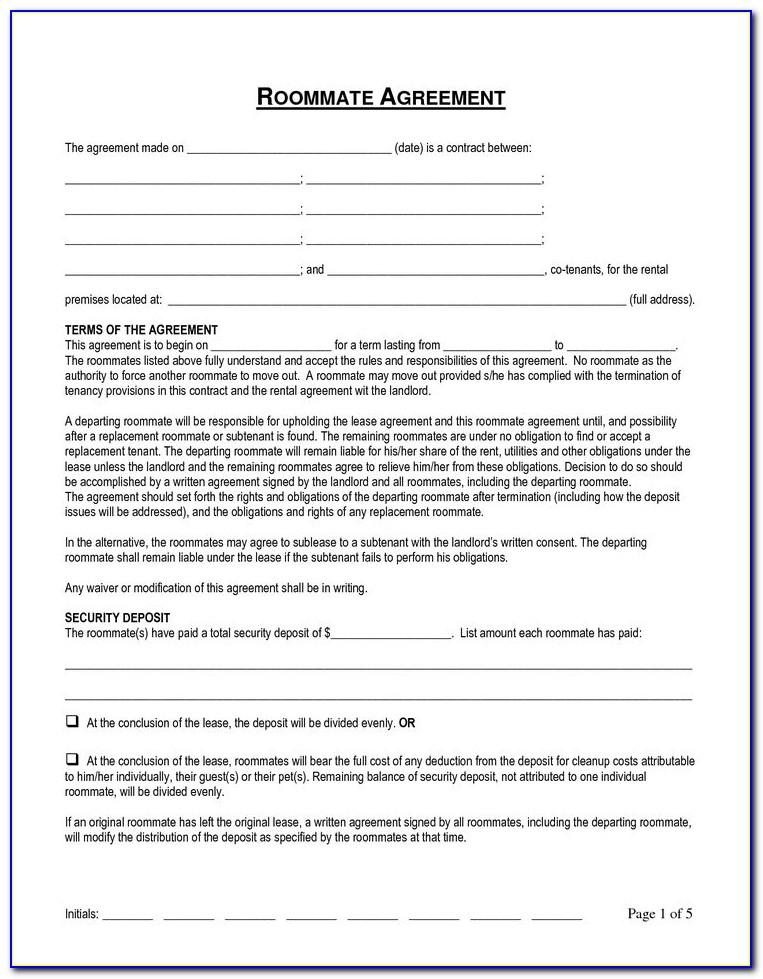 Rental Agreement Forms For Roommates