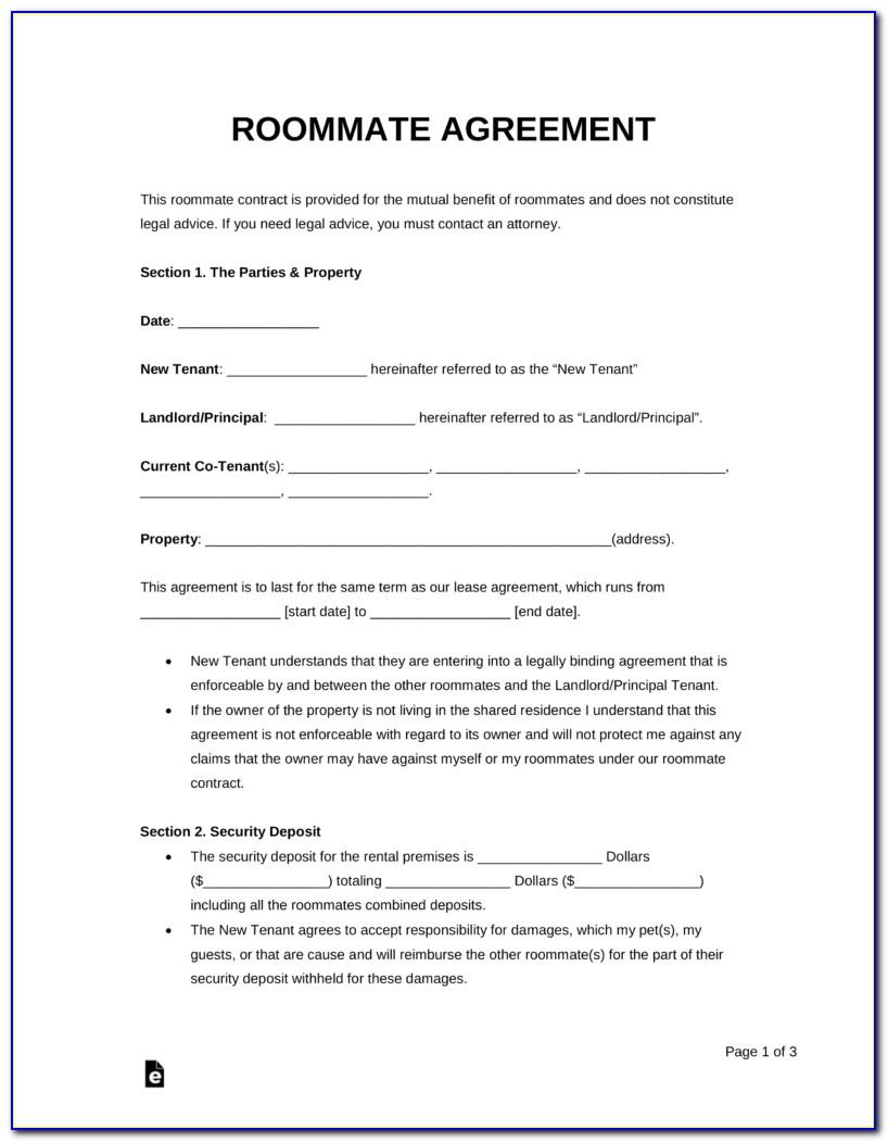 Rental Agreement Template For Roommates