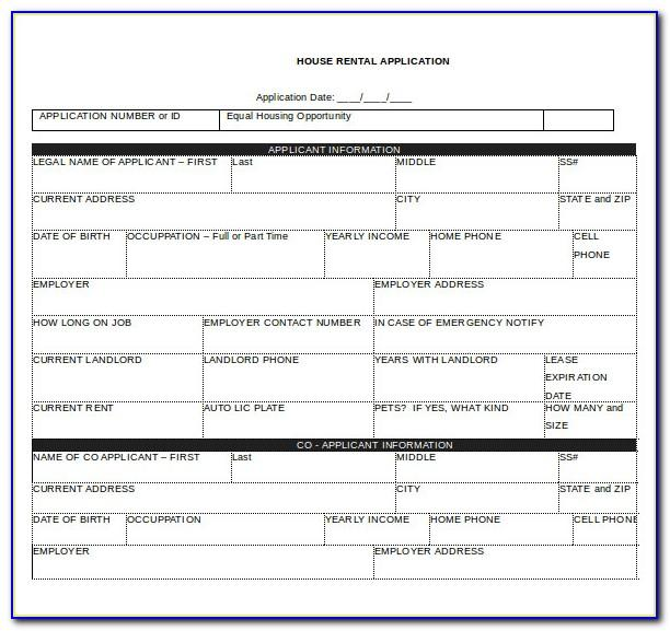 Rental Application Form Template Word Free