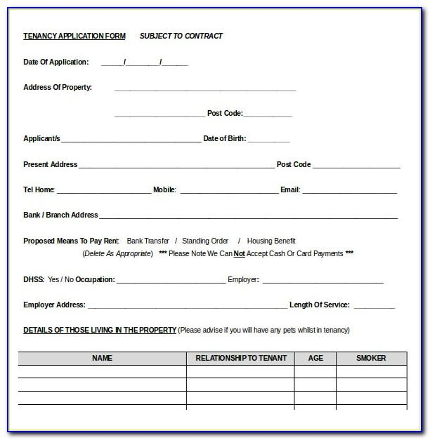 Rental Application Template Word Document