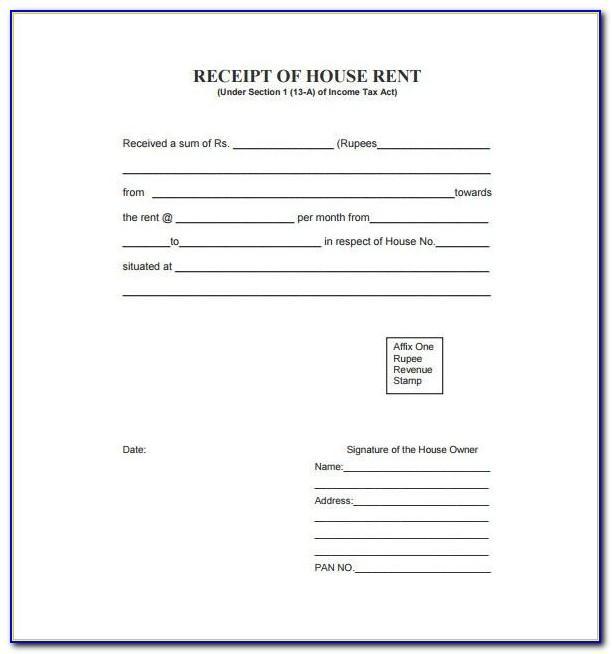 Rental Receipt Template Pdf