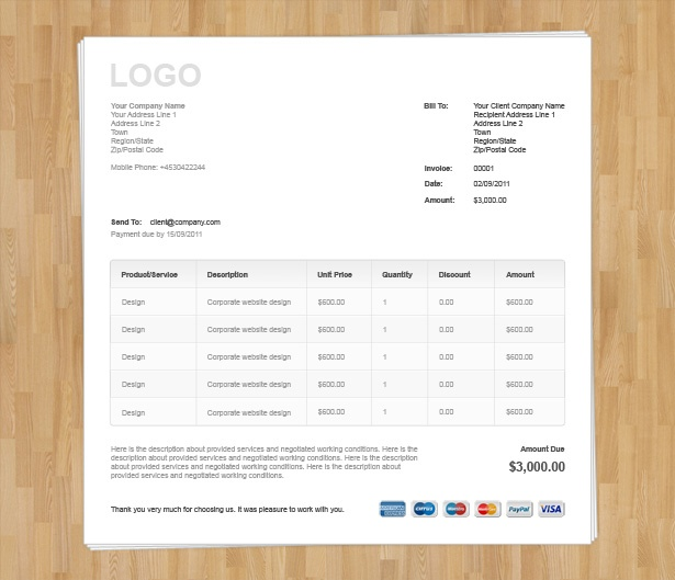 Responsive Invoice Email Template Html Code Free Download