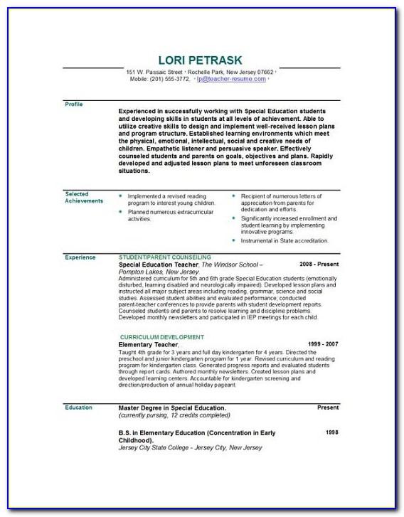 Resume For Teacher Job Template