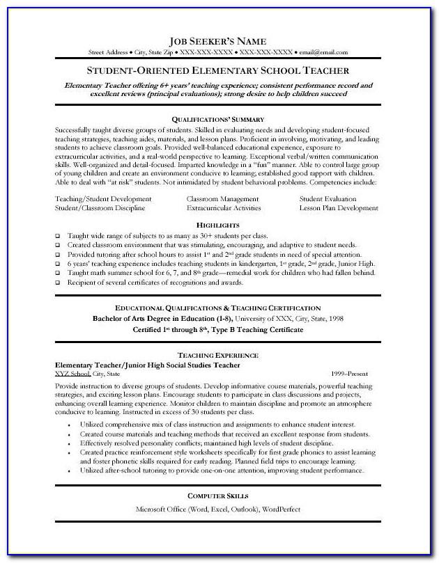 Resume For Teachers Examples