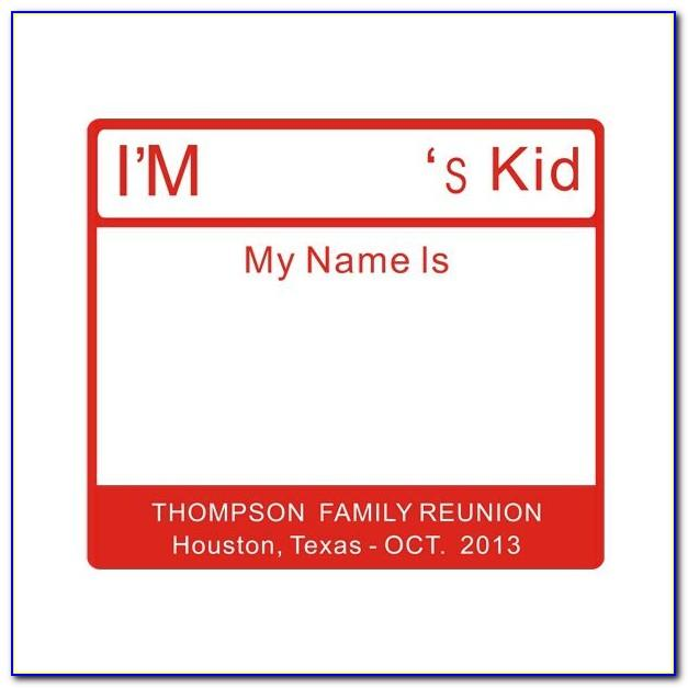 Reunion Name Badge Template