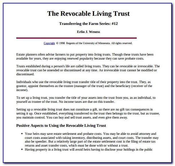Revocable Trust Template Florida