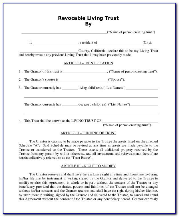 Revocable Trust Template Free